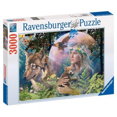 RAVENSBURGER Puzzle Lesní paní - Vlk ve svitu měsíce 3000 dílků