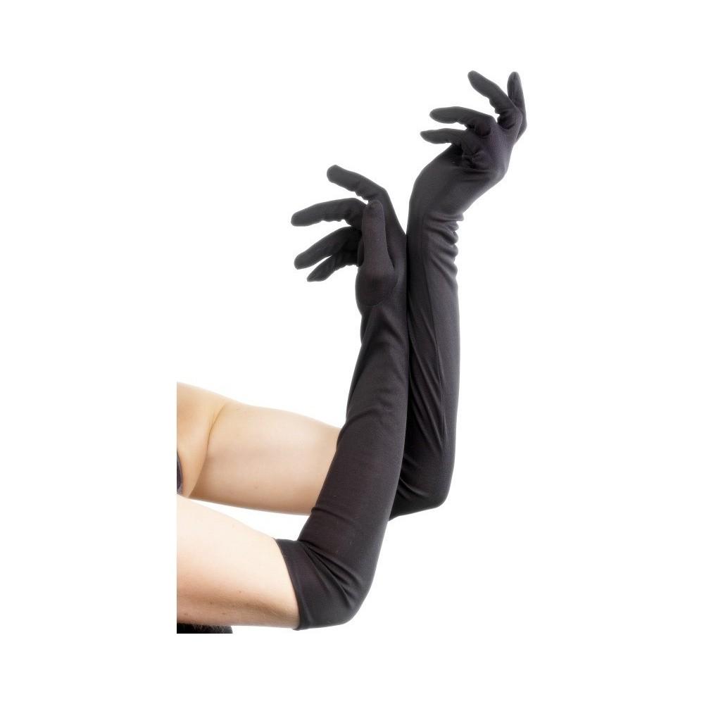 Rukavice - dlouhé černé látkové
