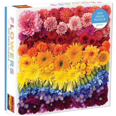 GALISON Čtvercové puzzle Duhové květiny 500 dílků