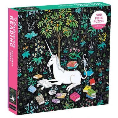 MUDPUPPY Čtvercové puzzle Jednorožec s knihami 500 dílků