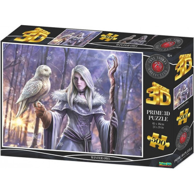 PRIME 3D Puzzle Zimní sova 3D 500 dílků