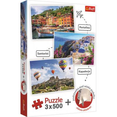 TREFL Puzzle Portofino, Santorini, Kappadokie 3x500 dílků