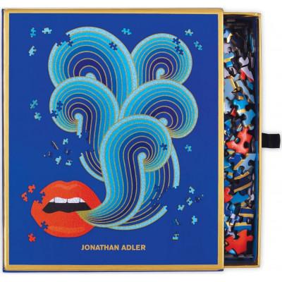 Tvarové metalické puzzle Jonathan Adler: Rty 750 dílků