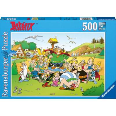 RAVENSBURGER Puzzle Asterix a Obelix: Vesnička 500 dílků