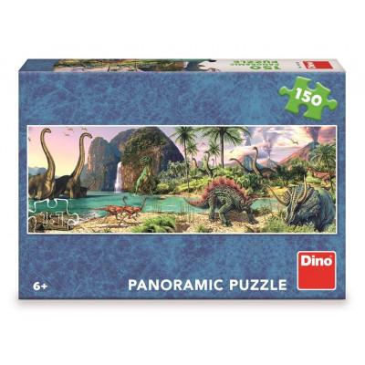 Dino Dinosauři u jezera panoramic puzzle 150 dílků