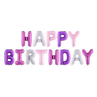 Nafukovací balónky - nápis Happy Birthday - růžový