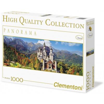 CLEMENTONI Panoramatické puzzle Neuschwanstein 1000 dílků
