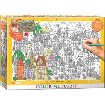 EUROGRAPHICS Color me puzzle Domy ve městě 300 dílků + sada na zavěšení