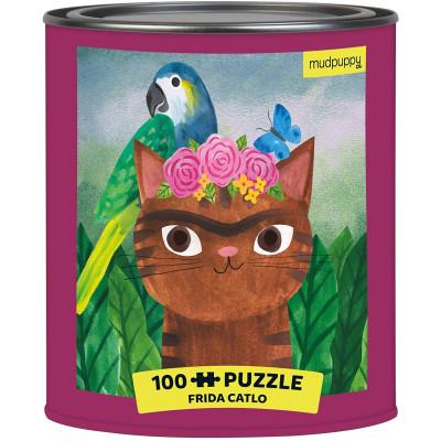 MUDPUPPY Puzzle v plechovce Artsy Cats: Frida Catlo 100 dílků