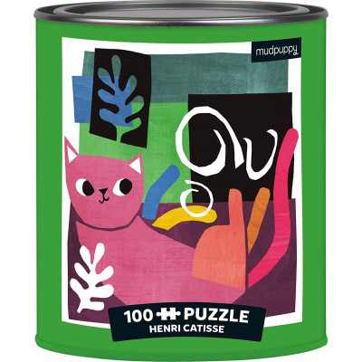MUDPUPPY Puzzle v plechovce Artsy Cats: Henri Catisse 100 dílků