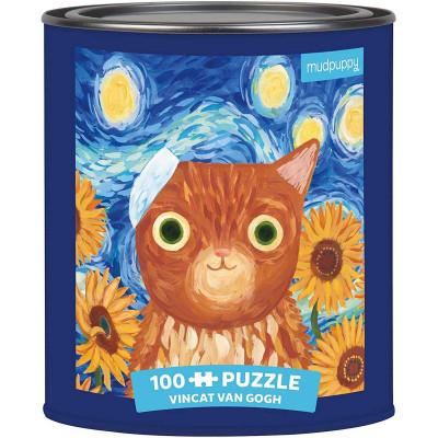 MUDPUPPY Puzzle v plechovce Artsy Cats: Vincat Van Gogh 100 dílků