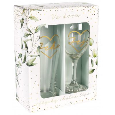 Albi Svatební set - sklenice s půllitrem