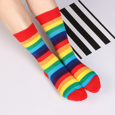 Duhové proužkované ponožky