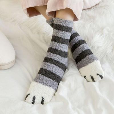 Proužkované ponožky tlapičky - šedé