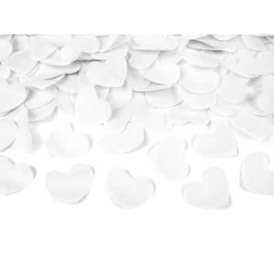 Vystřelovací konfety 40 cm - Srdíčka - bílé