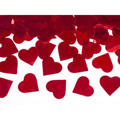 Vystřelovací konfety 40 cm - Srdíčka - červené