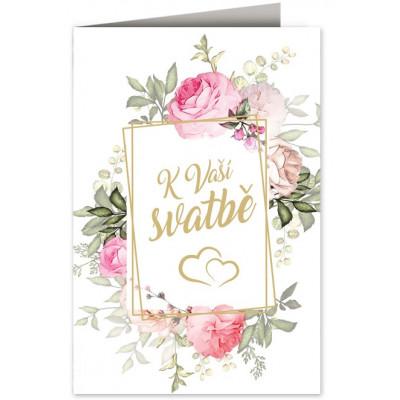 Přání - K Vaší svatbě - srdíčka