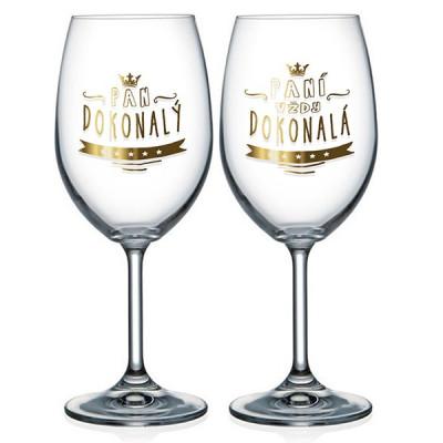 Nekupto Párové sklenice na víno - Pan a paní Dokonalý