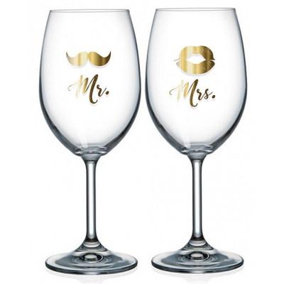 Nekupto Párové sklenice na víno - Mr. a Mrs.