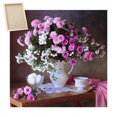Diamantové malování s rámem - květina