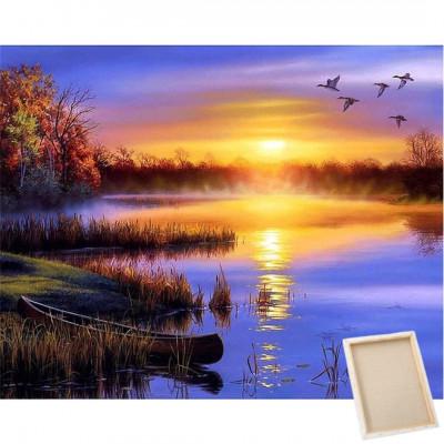 Diamantové malování s rámem - západ slunce