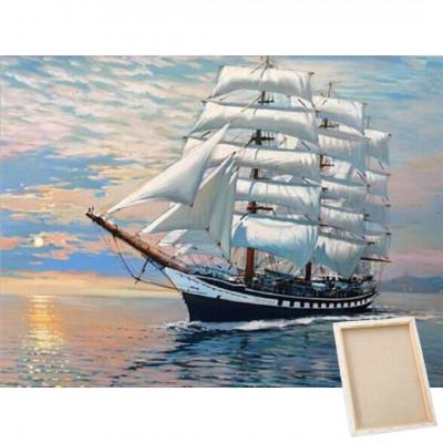 Diamantové malování s rámem - plachetnice
