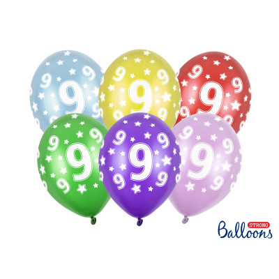 Narozeninové balónky 6 ks - číslo 9