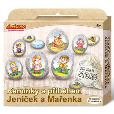 Malování na oblázky/kameny s příběhem - Jeníček a Mařenka