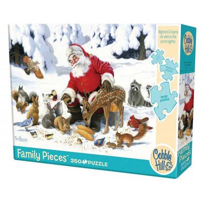 COBBLE HILL Rodinné puzzle Santa se zvířecími přáteli 350 dílků