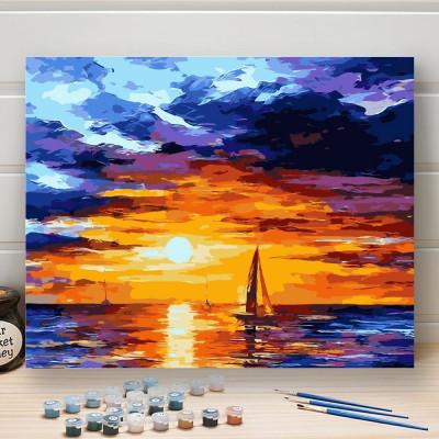 Malování podle čísel - západ slunce