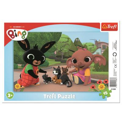 Trefl Puzzle Bing: Hra s koťaty 15 dílků