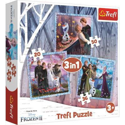 Trefl Puzzle Ledové království 2: Kouzelný příběh 3v1 20,36,50 dílků