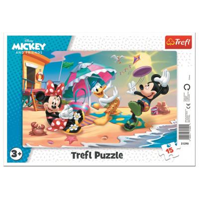 Trefl Puzzle Mickey a Minnie: Zábava na pláži 15 dílků