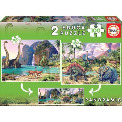 EDUCA Puzzle Dinosauří svět 2x100 dílků