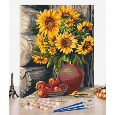 Malování podle čísel - slunečnice