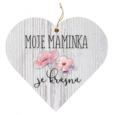 Dřevěné srdce 13 cm - Maminka