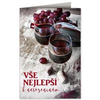 Přání - Vše nejlepší k narozeninám - víno