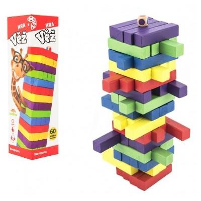 Hra věž dřevěná 60ks barevných dílků v krabičce 7,5x27,5x7,5cm