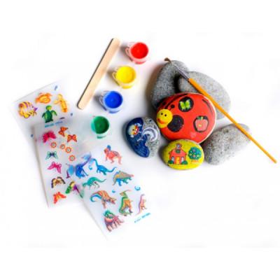 Malování na kameny 6 oblázků, 4 barvy, obtisky, štětec