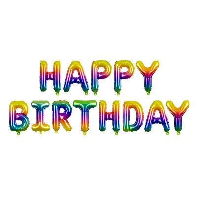Nafukovací balónky - nápis Happy Birthday - barevné