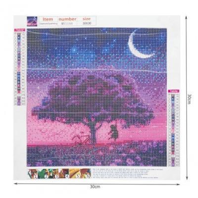 Diamantové malování - noční strom