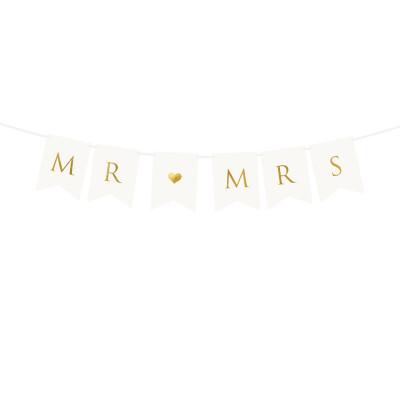 Papírový banner - Mr a Mrs - bílý