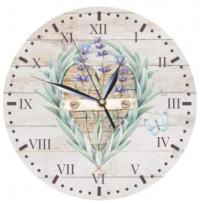Dřevěné hodiny 24 cm - Levandule