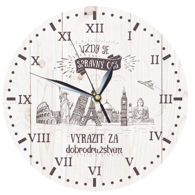 Dřevěné hodiny 24 cm - Dobrodružství
