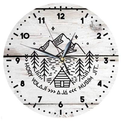 Dřevěné hodiny 24 cm - Hory volají