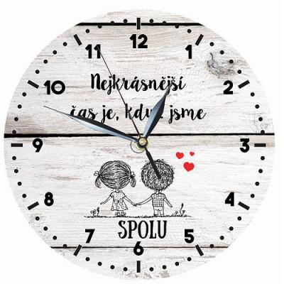 Dřevěné hodiny 24 cm - Pro zamilované