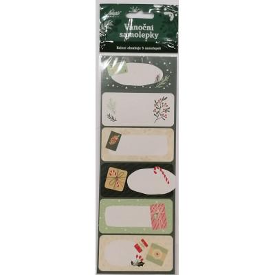 Nekupto Vánoční samolepky 6 ks - Zelené dárečky