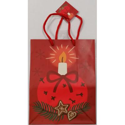 Vánoční dárková taška - červená - střední 23x18x10cm