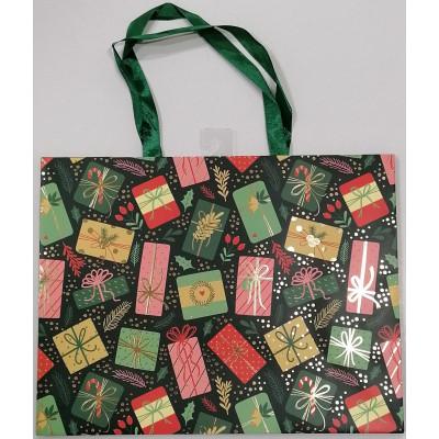 Vánoční dárková taška - zelená - velká 23x30x12cm