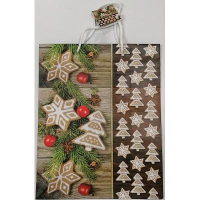 Vánoční dárková taška - hnědá - velká 32x26x12cm